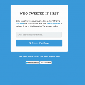 How to find the first mention of a hashtag, word or link on Twitter